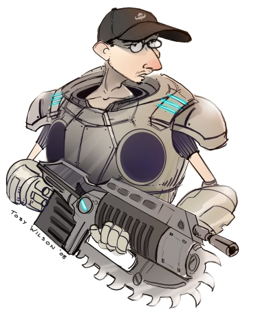 Charicature of Justin Korthof as a Gear