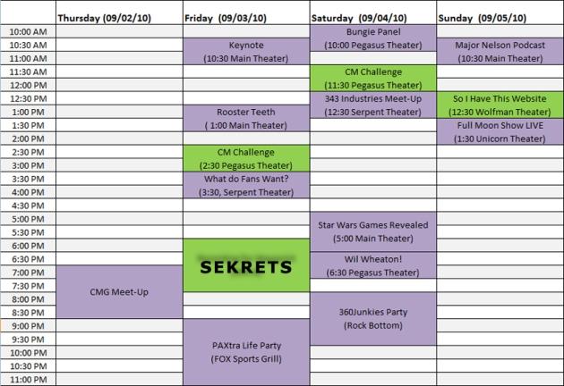 PAX Schedule